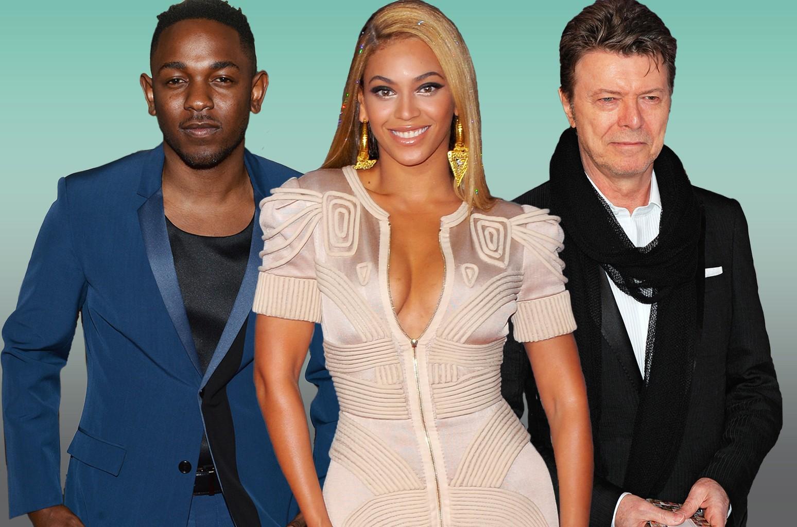 Kendrick Lamar, Beyonce and David Bowie.