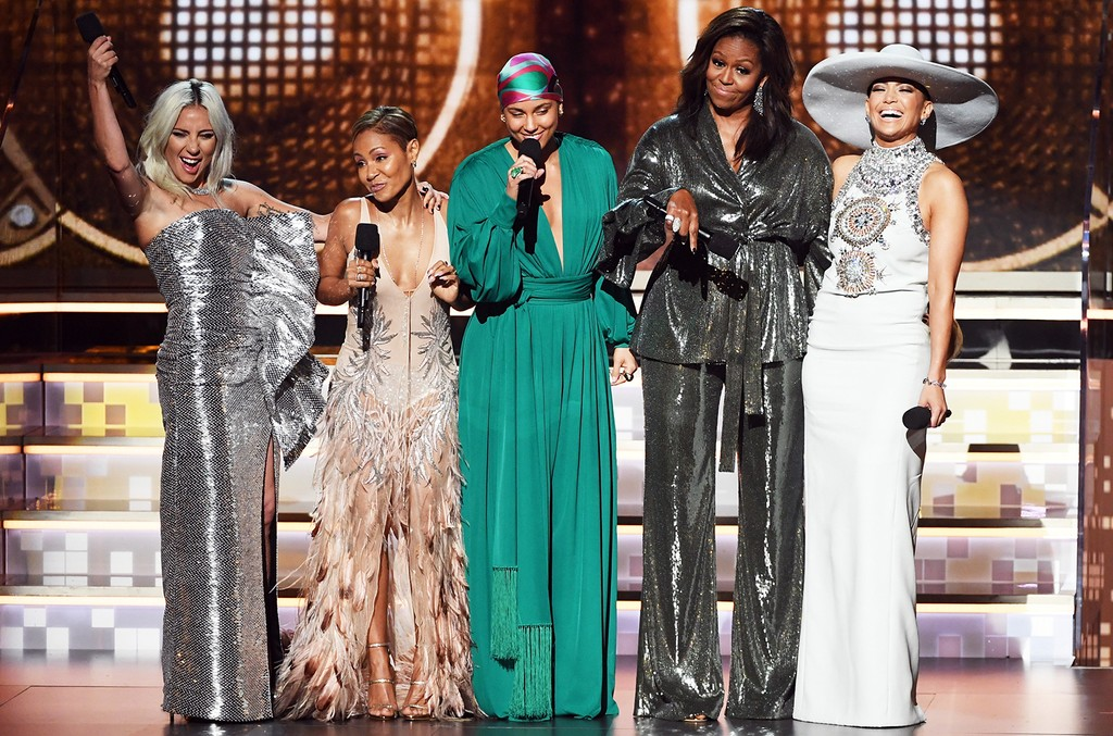 Lady Gaga, Jada Pinkett Smith, Alicia Keys, Michelle Obama, and Jennifer Lopez