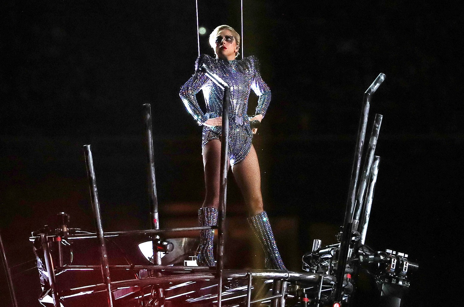 Lady Gaga performs during the Pepsi Zero Sugar Super Bowl 51 Halftime Show at NRG Stadium on Feb. 5, 2017 in Houston.