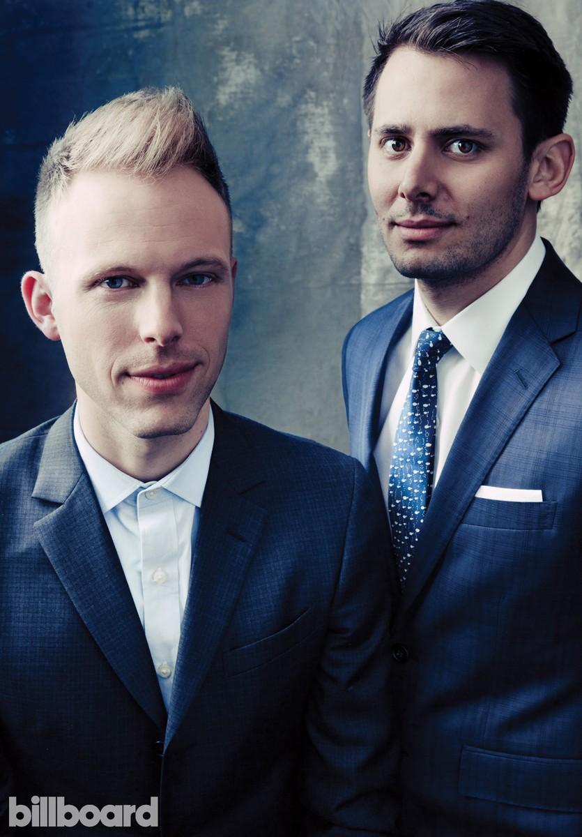 Justin Paul and Benj Pasek, photographed Feb. 6 at The Beverly Hilton in Los Angeles.