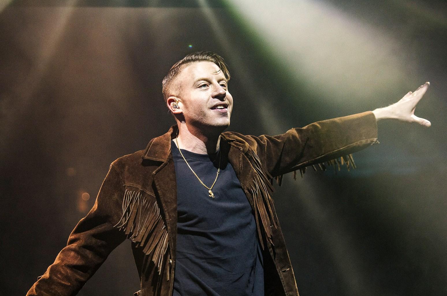 Macklemore of Macklemore & Ryan Lewis performs in Manchester