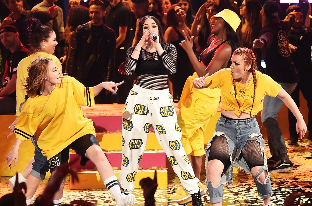 Noah Cyrus performs onstage during the 2017 MTV Movie and TV Awards at The Shrine Auditorium on May 7, 2017 in Los Angeles.