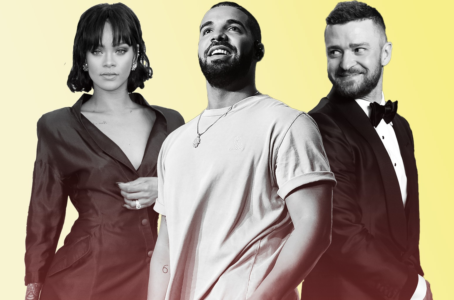 Rihanna, Drake and Justin Timberlake
