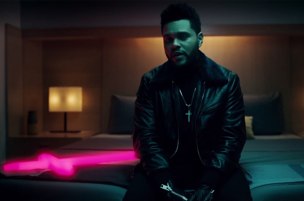 """The Weeknd in the video for """"Starboy"""" featuring Daft Punk."""