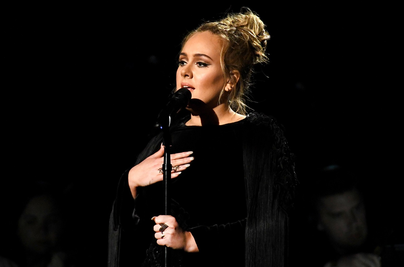 Adele performing a tribute to George Michael onstage during The 59th Grammy Awards at Staples Center on Feb. 12, 2017 in Los Angeles.
