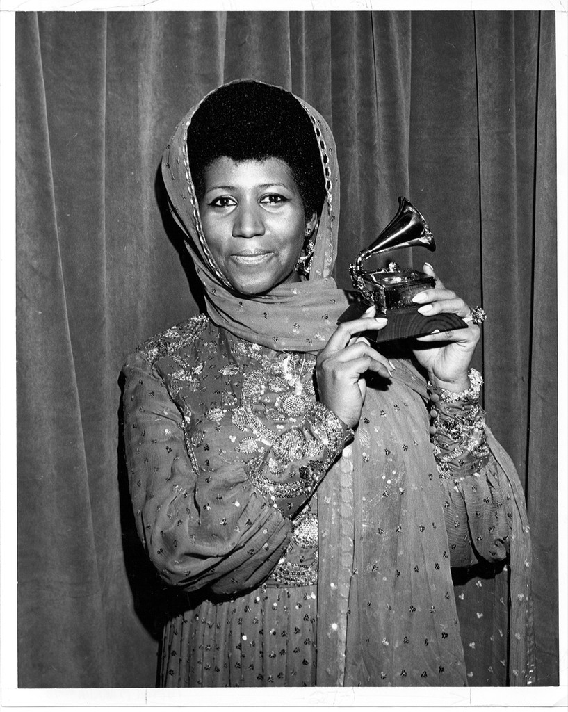 "Aretha Franklin receives a Grammy for ""best female rhythm & blues performance"" for the 5th consecutive year, this year for her rendition of the song ""Bridge Over Troubled Water"" on March 15, 1975 in New York City."