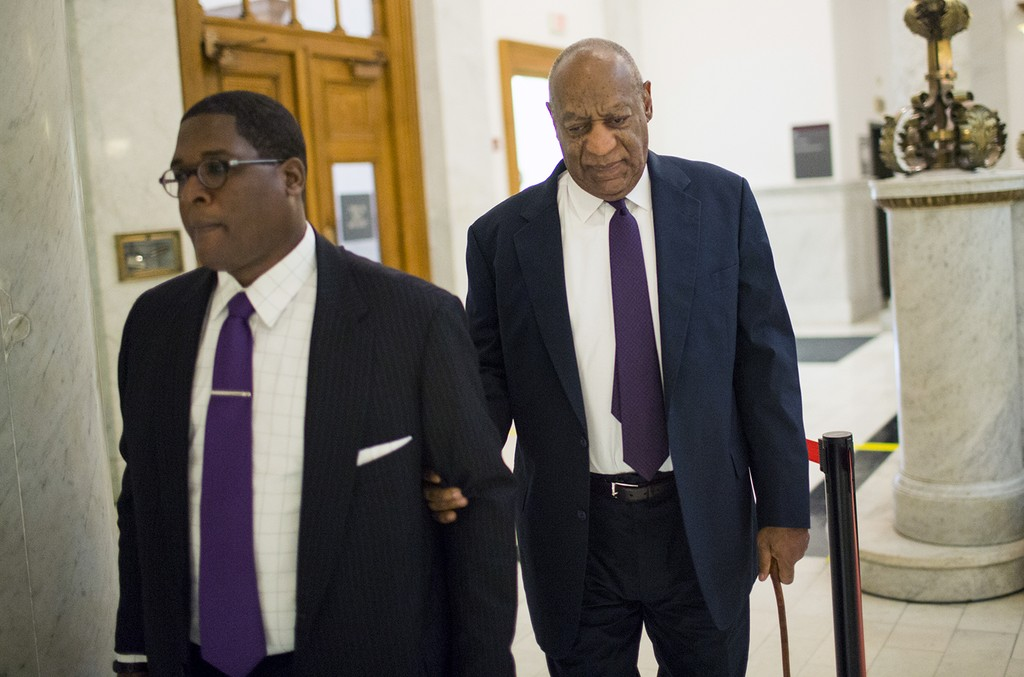 Bill Cosby and spokesman Andrew Wyatt arrive for Cosby's trial on sexual assault charges at the Montgomery County Courthouse on June 6, 2017 in Norristown, Pa.