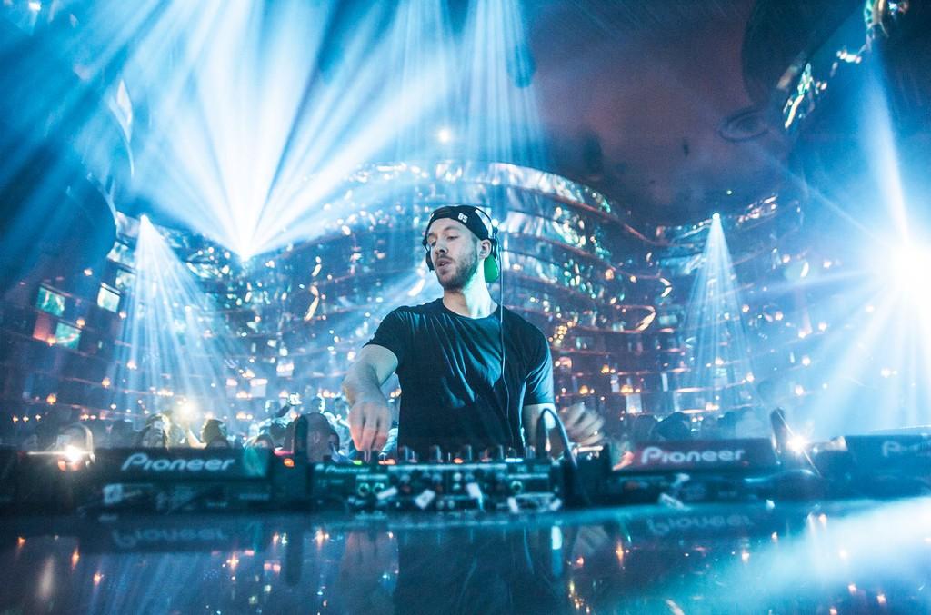 Calvin Harris onstage at OMNIA Nightclub at Caesars Palace in Las Vegas on April 24, 2015.