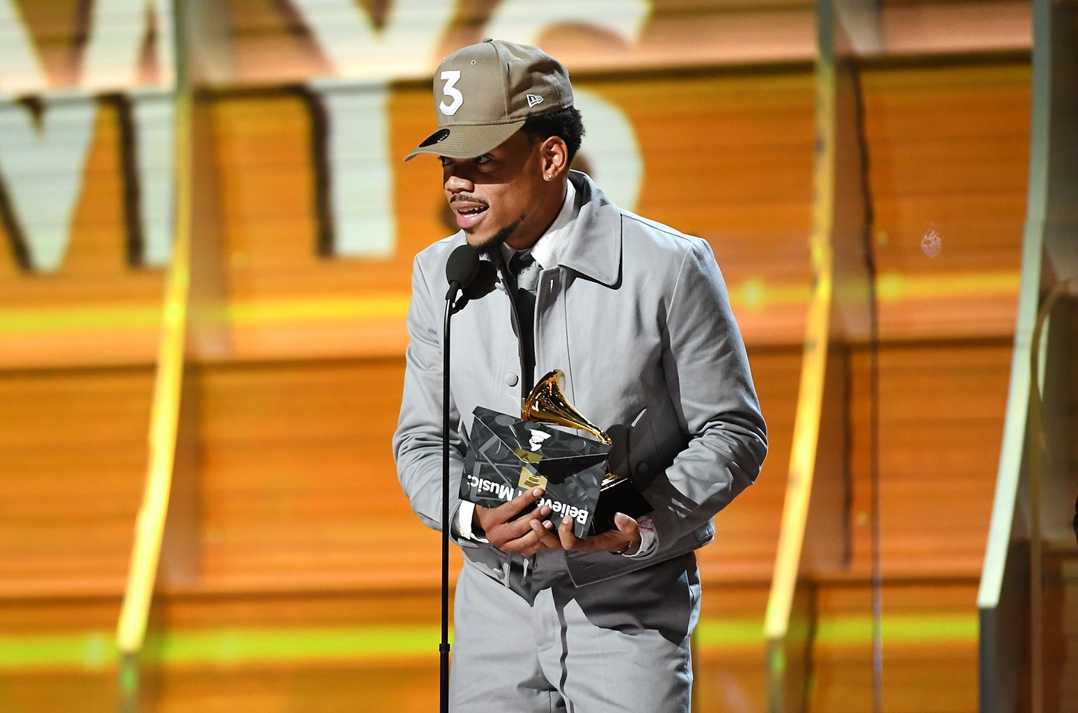 Chance the Rapper accepts the award for Best New Artist, onstage during The 59th Grammy Awards at Staples Center on Feb. 12, 2017 in Los Angeles.
