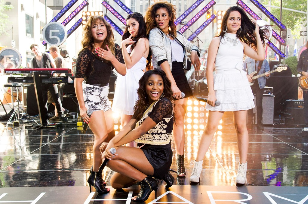"Fifth Harmony, from left, Ally Brooke Hernandez, Lauren Jauregui, Normani Hamilton, Dinah Jane Hansen and Camila Cabello perform on NBC's ""Today"" show on July 18, 2013 in New York."