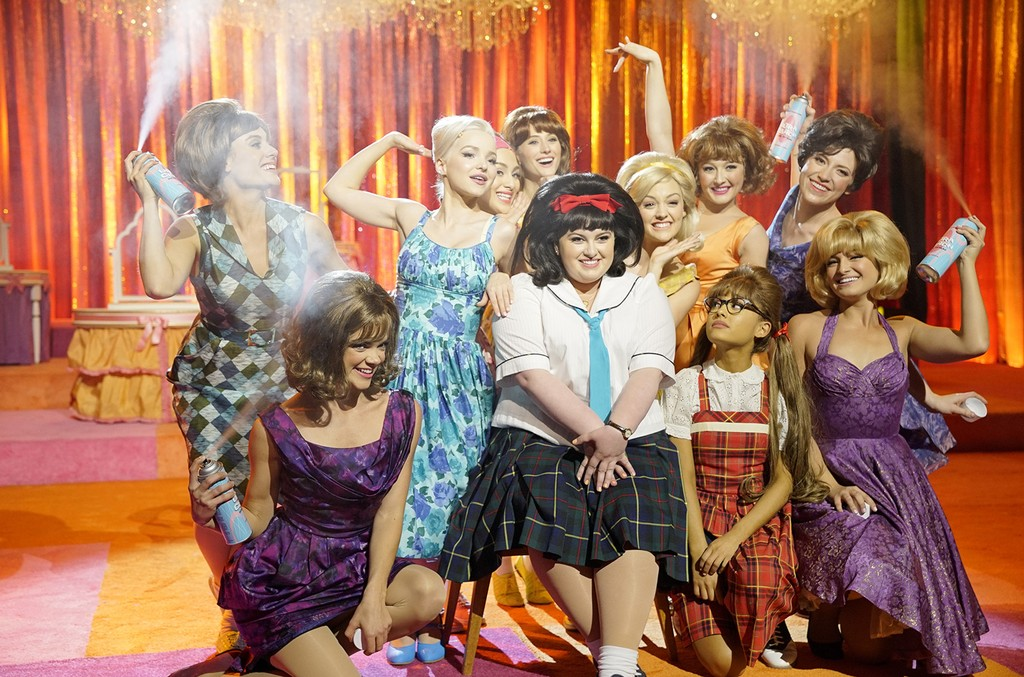 Dove Cameron as Amber Von Tussle, Maddie Baillio as Tracy Turnblad, Ariana Grande as Penny Pingleton in Hairspray Live!