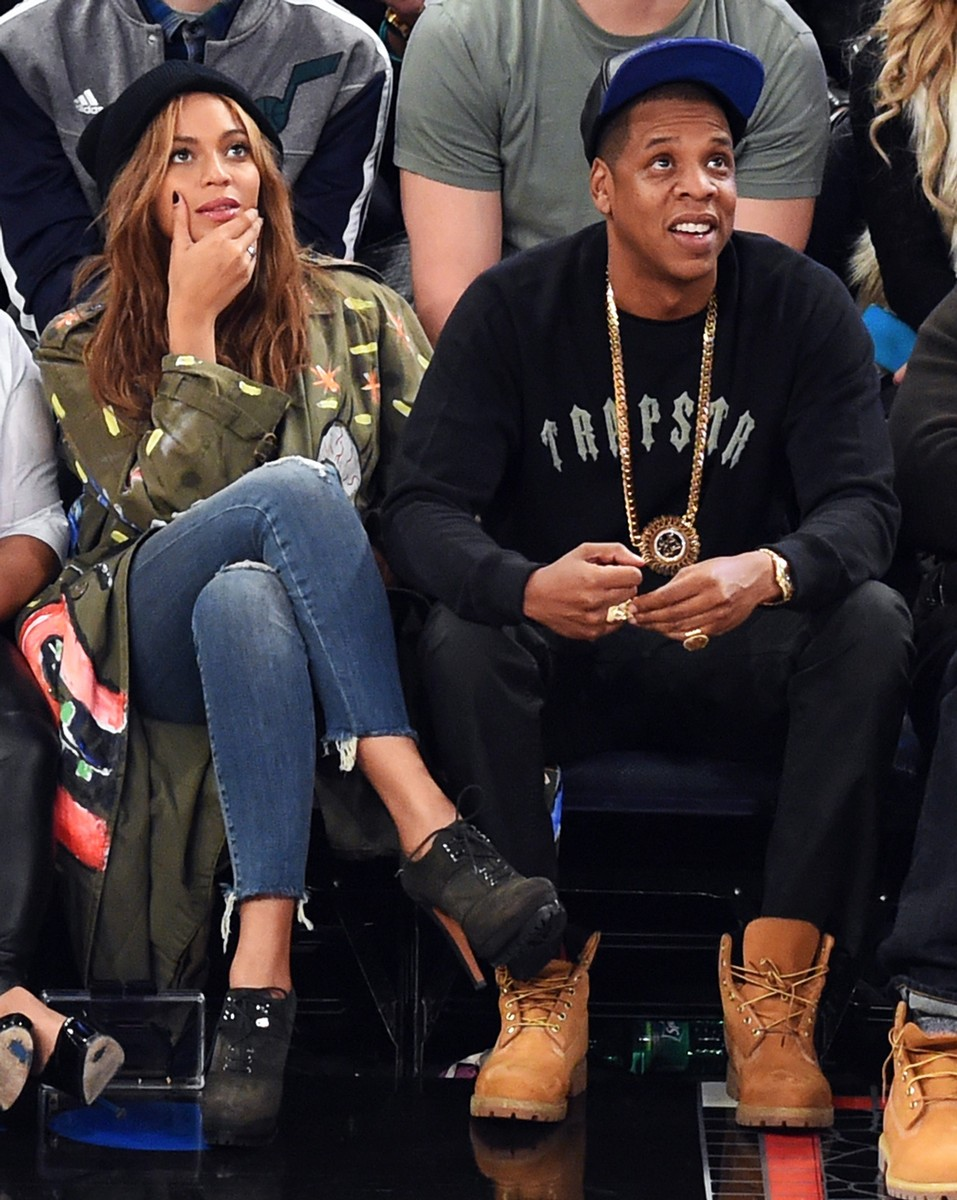 Beyonce and Jay Z attend the 64th NBA All-Star Game at Madison Square Garden in New York on Feb. 15, 2015.
