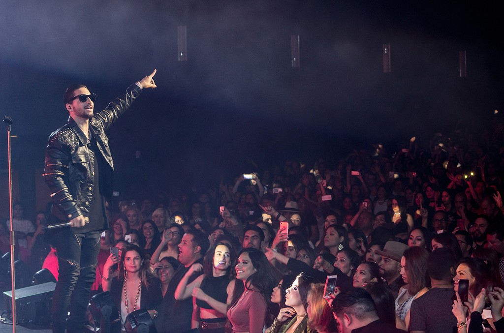 Maluma performs during his US Tour at the Microsoft Theater on March 26, 2017 in Los Angeles.