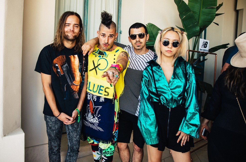 DNCE at the REVOLVE Desert House during Coachella on April 15, 2017 in Palm Springs, Calif.