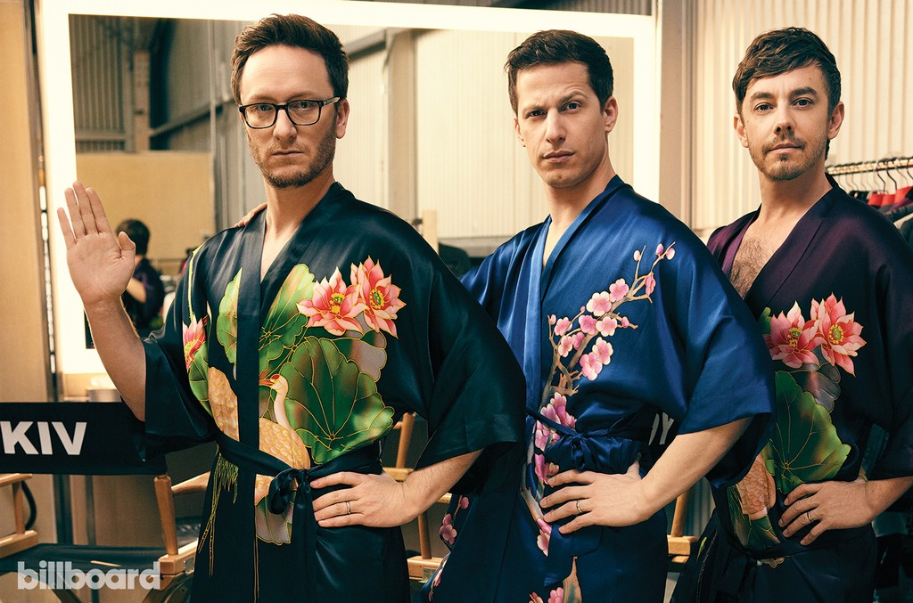The Lonely Island photographed at Milk Studios in Los Angeles on April 21, 2016.