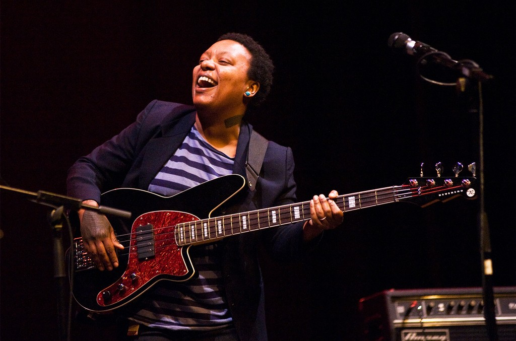 Meshell Ndegeocello performs on stage during Festival Blues i Ritmes at Teatre Zorrilla on April 20, 2013 in Badalona, Spain.