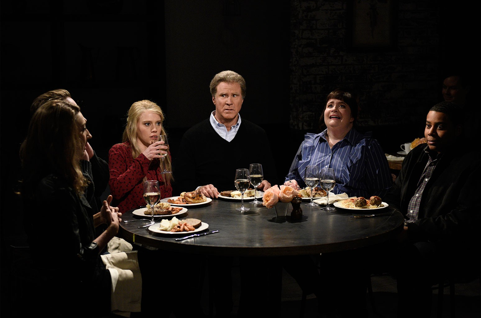 """Kate McKinnon, Will Ferrell as Jason, Aidy Bryant, Kenan Thompson during """"Dinner Discussion"""" in Studio 8H on Jan. 27, 2018 Saturday Night Live."""