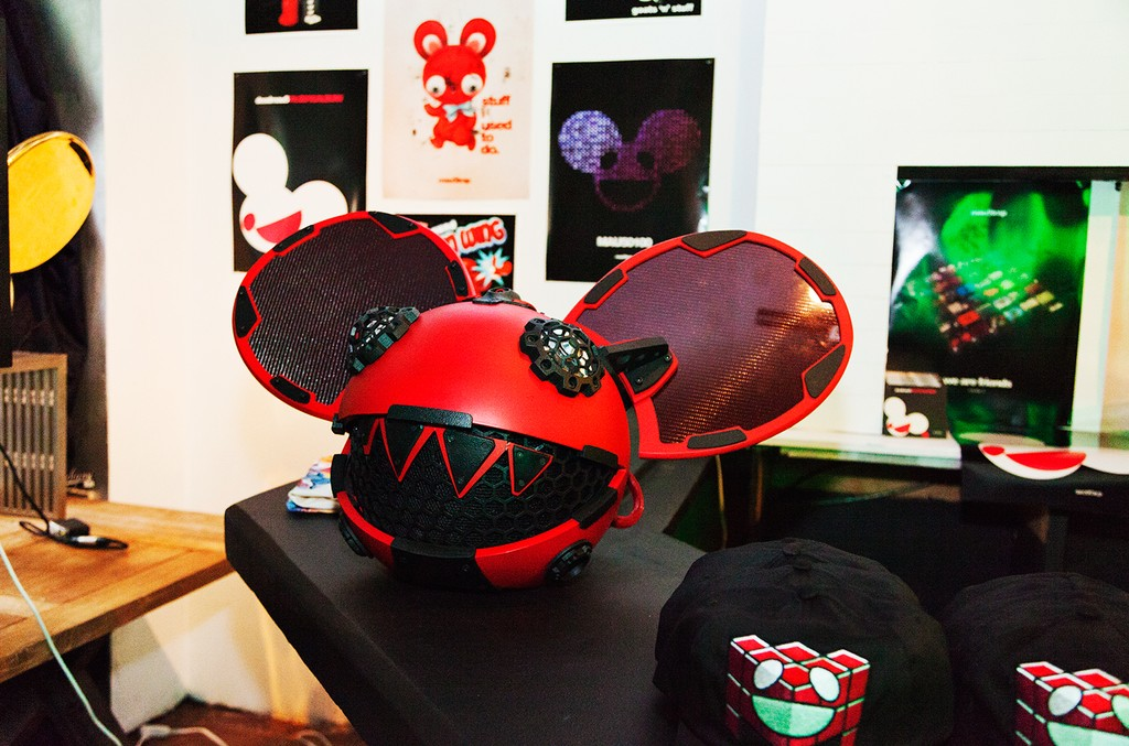 Red and black jeweled Deadmau5 head at the 'Lost of Stuff in a Store' Deadmau5 pop-up shop on March 31, 2017 in New York City.