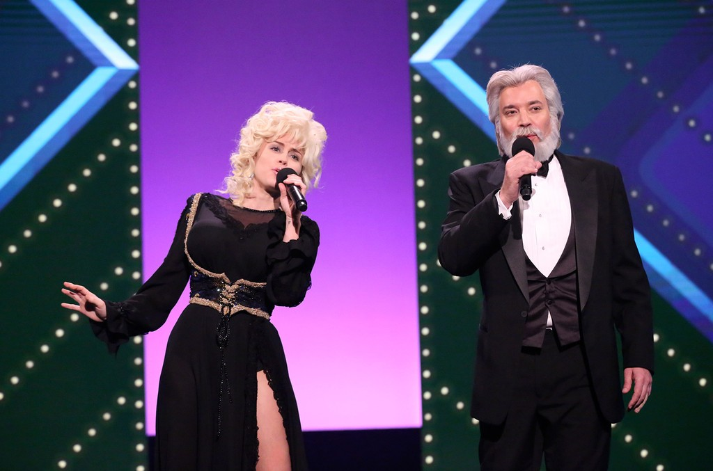 Miley Cyrus as Dolly Parton and Jimmy Fallon as Kenny Rogers