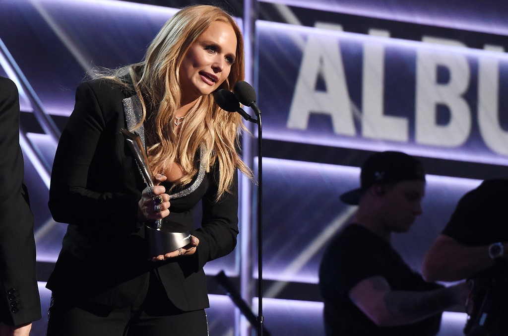 Miranda Lambert accepts the award for Album of the Year onstage during the 52nd Academy Of Country Music Awards at T-Mobile Arena on April 2, 2017 in Las Vegas.