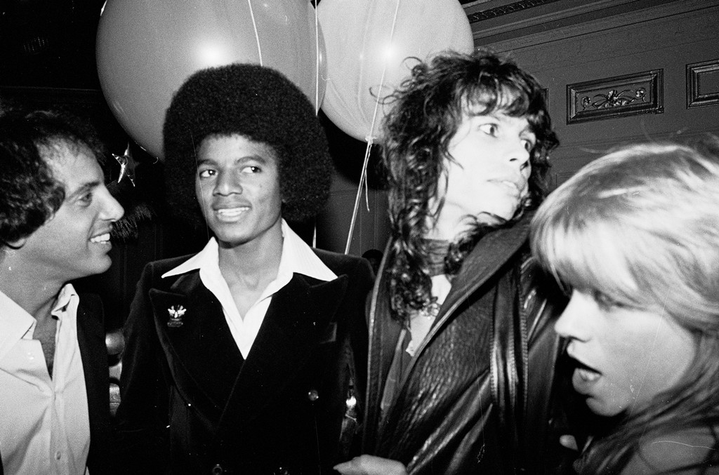 Steve Rubell, Michael Jackson, Steven Tyler of Aerosmith and Cherie Currie of The Runaways at Studio 54