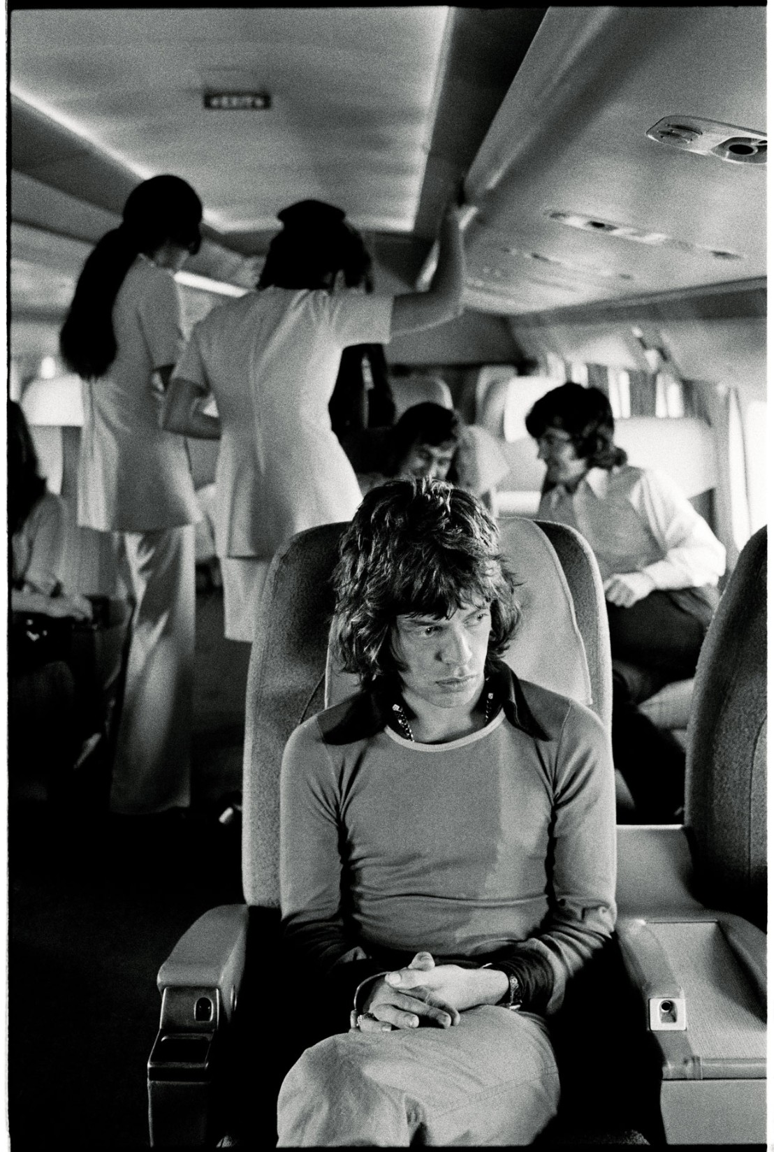 Mick Jagger on a plane to Southern California, 1972