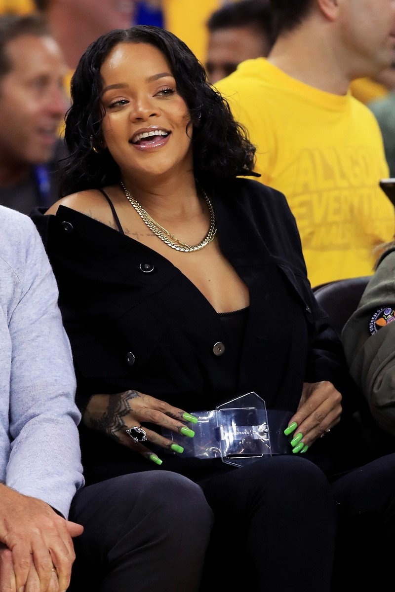 Rihanna attends Game 1 of the 2017 NBA Finals at ORACLE Arena on June 1, 2017 in Oakland, Calif.