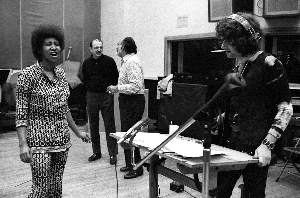 Aretha Franklin in the Atlantic Records Studios with producers Arif Mardin and Jerry Wexler circa 1970 in New York City, New York.
