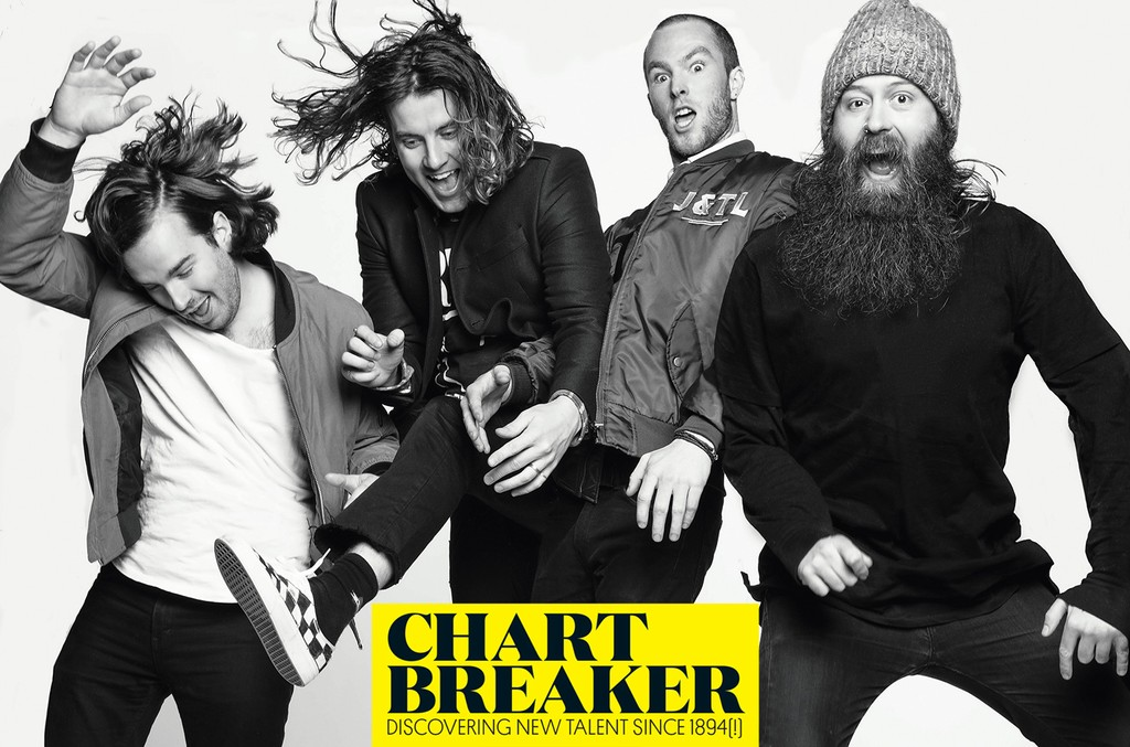 Judah & The Lion's Spencer Cross, Akers, Brian Macdonald and Nate Zuercher photographed Jan.12 at Footsie's in Los Angeles.