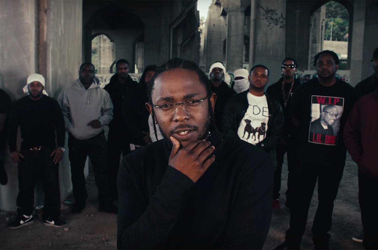 """Kendrick Lamar in the video for """"Humble"""""""