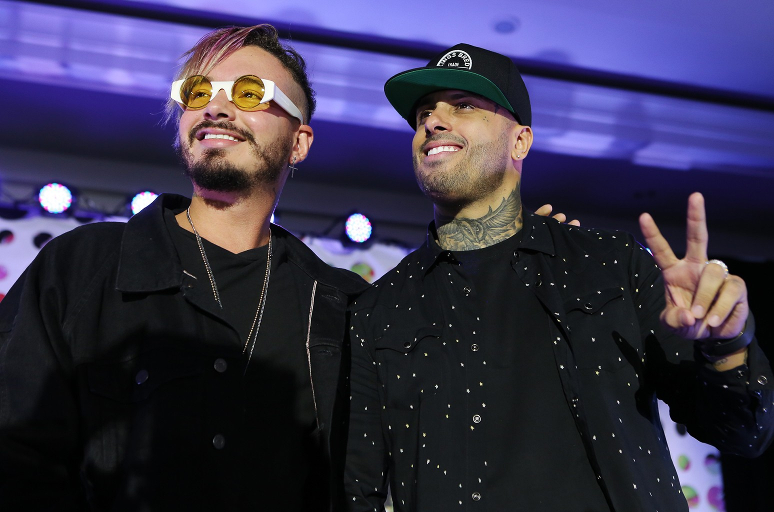 J Balvin and Nicky Jam during the Superstar Mano A Mano panel at the Billboard Latin Music Conference in Miami on April 26, 2017.