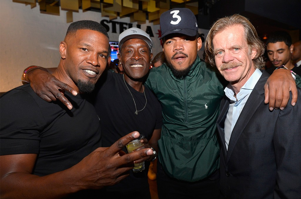 Jamie Foxx, Don Cheadle, recording artist Chance The Rapper, and actor William H. Macy attend the Showtime, WME IME and Mayweather Promotions VIP Pre-Fight party for Mayweather vs. McGregor at T-Mobile Arena on Aug. 26, 2017 in Las Vegas.