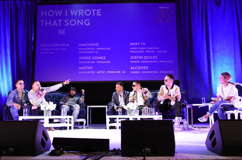 "Alcover, Justin Quiles, Spiff TV, Jorge Gomez, IAMCHINO, Motiff and Delia Orjuela (VP Creative, Latin music, BMI) during the ""How I Wrote That Song"" panel"