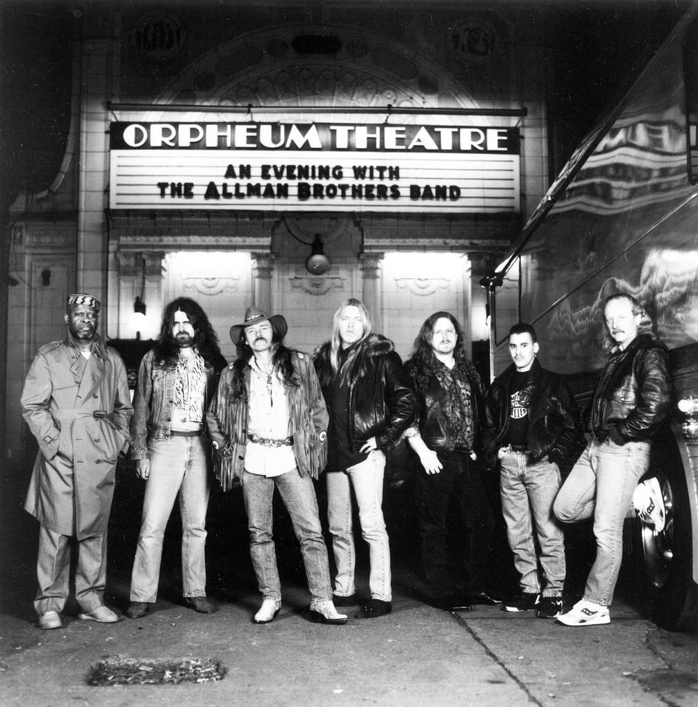 The Alllman Brothers Band photographed in 1992.  Shown from left: Jaimoe, Allen Woody, Dickey Betts, Gregg Allman, Warren Haynes, Mark Quinones, Butch Trucks.