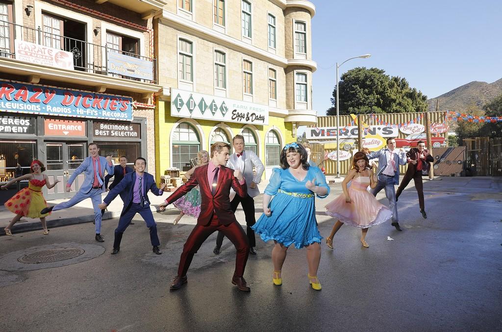 (l-r) Garrett Clayton as Link Larkin, Derek Hough as Corny Collins, Maddie Baillio as Tracy Turnblad in Hairspray Live!