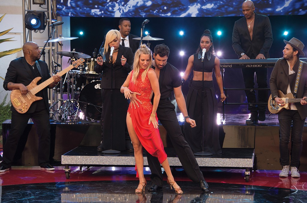 """Dancing With the Stars contestant Morris (left) and her partner Chmerkovskiy performed as TLC sang """"Waterfalls"""" on the May23 season finale."""
