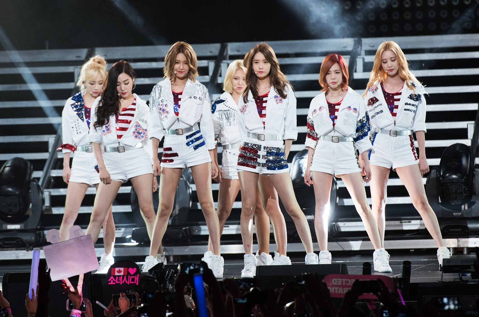 Susan Soonkyu Lee, Choi Soo-young, Im Yoona, Kim Hyo-yeon, Seo Ju-hyun, Stephanie Young Hwang, Kim Tae-yeon, and Kwon Yuri of Girls' Generation perform at the 2015 K-Pop Festival at Prudential Center on Aug. 8, 2015 in Newark, New Jersey.