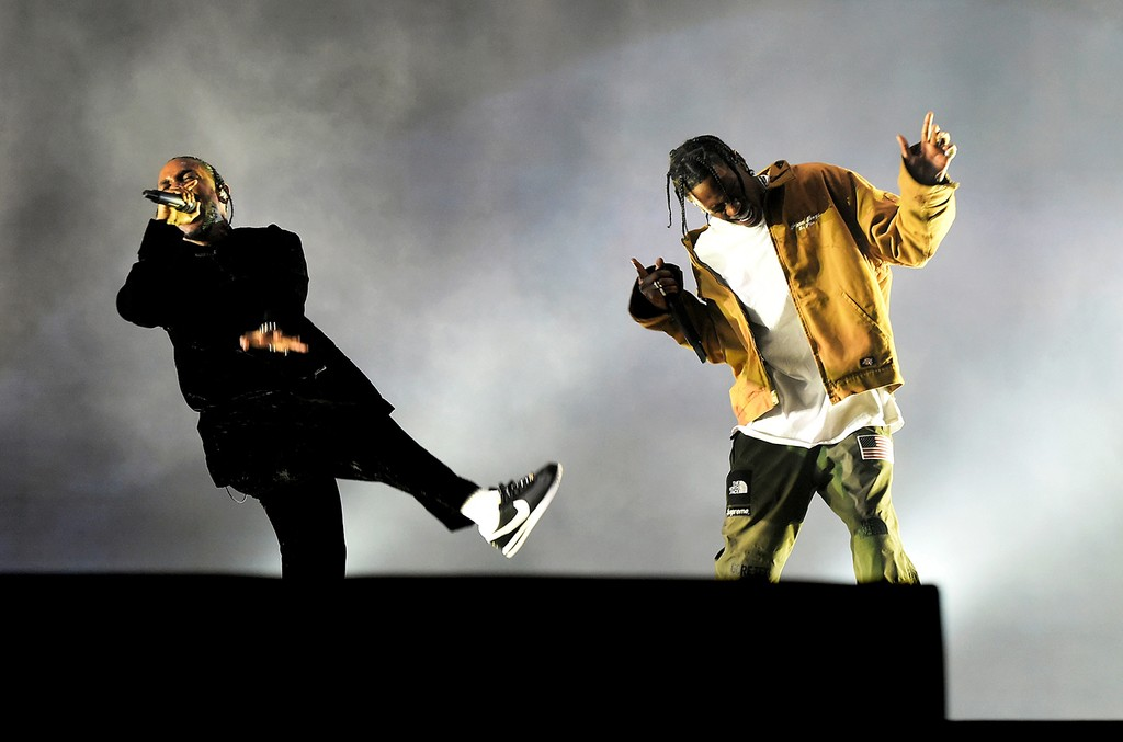 Kendrick Lamar and Travis Scott perform on the Coachella Stage during day 3 of the Coachella Valley Music And Arts Festival (Weekend 1) at the Empire Polo Club on April 16, 2017 in Indio, Calif.