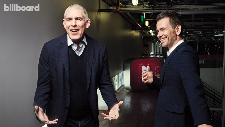 <p>Lyor Cohen (left) and YouTube chief business officer Kyncl photographed Feb. 24 at YouTube in Los Angeles.</p>