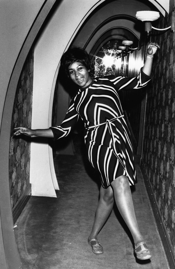 Aretha Franklin dancing for the cameras in 1968.