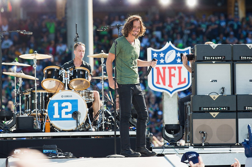 Matt Cameron and Chris Cornell of Soundgarden perform on stage during the NFL Kickoff concert presented by Xbox before the Seattle Seahawks play the Green Bay Packers at CenturyLink Field on Sept. 4, 2014 in Seattle