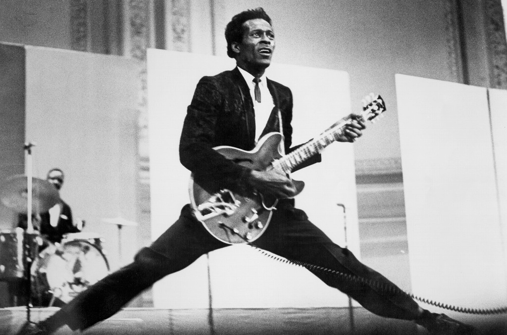 Chuck Berry performs playing his Gibson hollowbody electric guitar circa 1968.