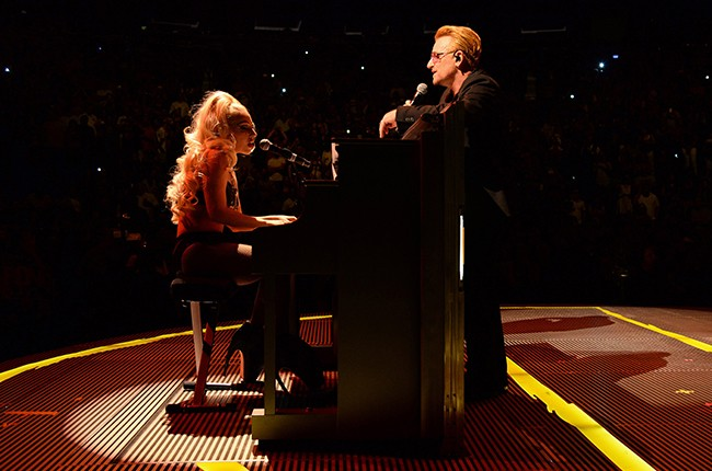 """Lady Gaga and Bono perform """"Ordinary Love"""" onstage during U2's """"iNNOCENCE + eXPERIENCE"""" tour at Madison Square Garden"""