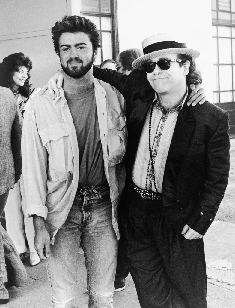 George Michael and Elton John, who had recently performed at the Live Aid concert at Wembley on July 13, 1985.