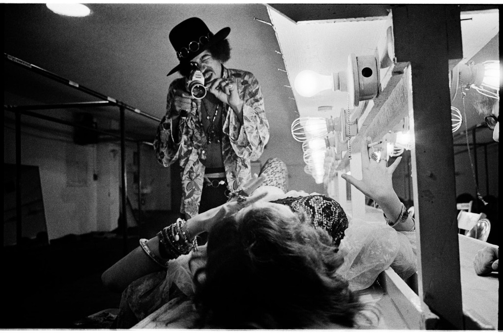 Jimi Hendrix filming Janis Joplin backstage at Winterland, San Francisco, 1968