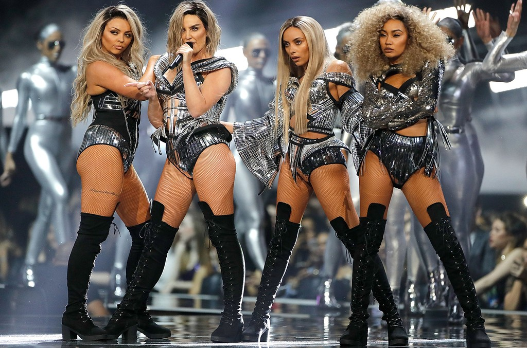 Little Mix perform on stage at The BRIT Awards 2017 at The O2 Arena on Feb. 22, 2017 in London.