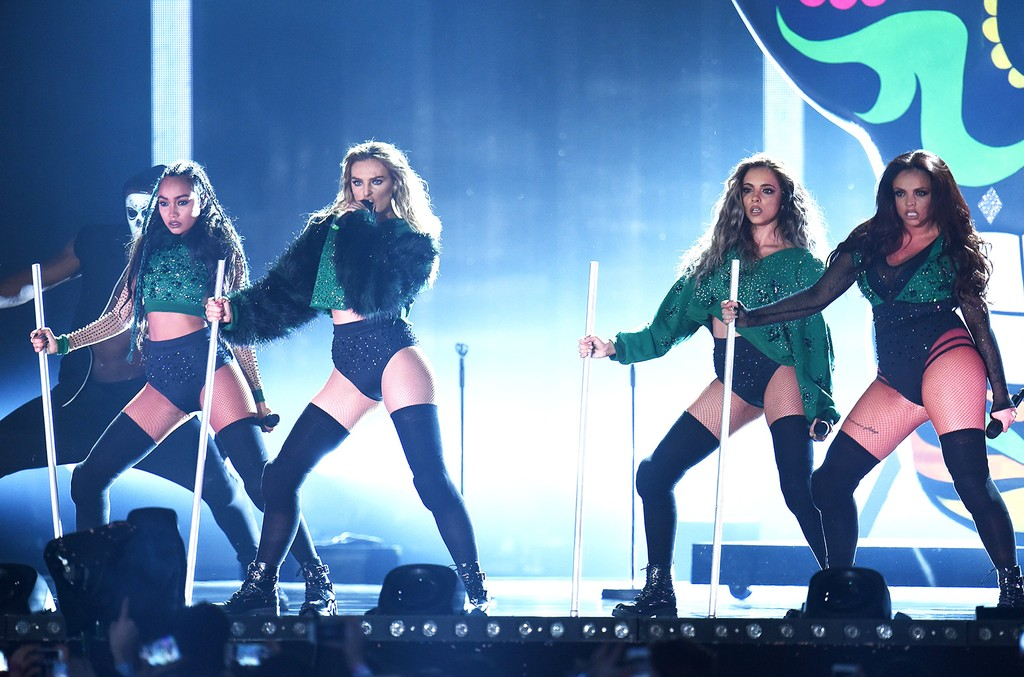 Little Mix perform on stage during the BRIT Awards 2016 at The O2 Arena on Feb. 24, 2016 in London.