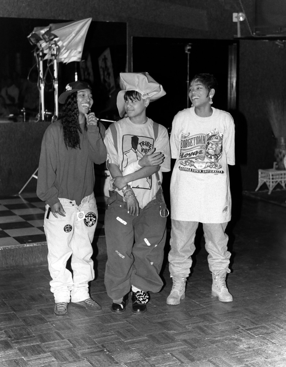 Chili, the late Left Eye and T-Boz of TLC, poses for photos at the Cotton Club in Chicago in April 1992.