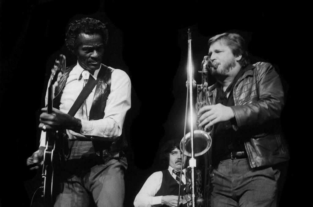 Chuck Berry performs circa 1980.