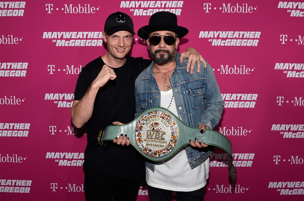 Nick Carter and AJ McLean of the Backstreet Boys arrive on T-Mobile's magenta carpet duirng the Showtime, WME IME and Mayweather Promotions VIP Pre-Fight Party for Mayweather vs. McGregor at T-Mobile Arena on Aug. 26, 2017 in Las Vegas.